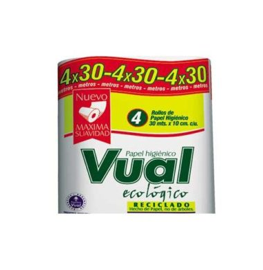 VUAL papel higienico ecologico blanco hoja simple  30m x4u.