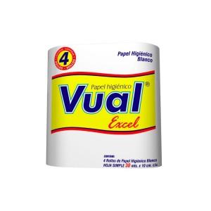 VUAL papel higienico excel hoja simple 30m x4u.