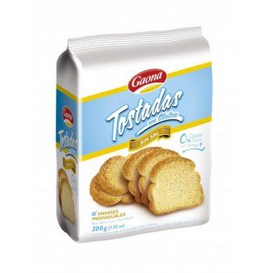 GAONA tostada con gluten sin sal x200g.
