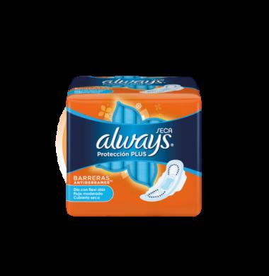ALWAYS toallitas plus seca naranja con alas  x8Un.