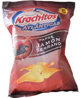 KRACHITOS papas con jamon x55g. tiras