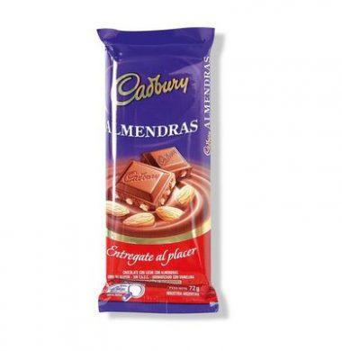 CADBURY chocolate con almendras x72g