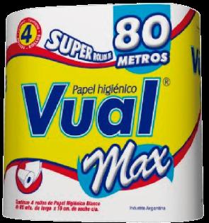 VUAL papel higienico max hoja simple 80m x4u.