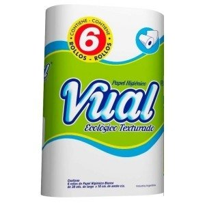 VUAL papel higienico ecologico texturado hoja simple  30m x6u.