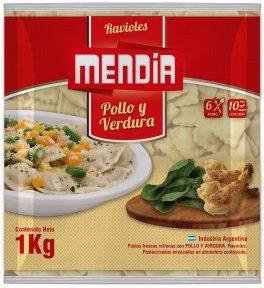 MENDIA ravioles pollo verdura 1kg bolsa