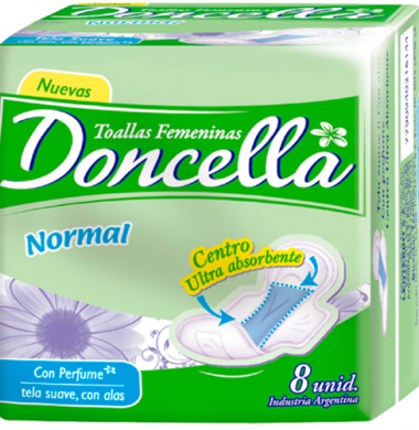 DONCELLA toalla con alas con desodorante x8Un.