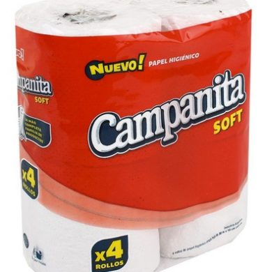 CAMPANITA papel higienico soft blanco hoja simple  80m x4u.