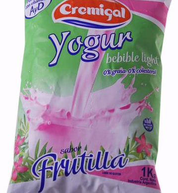 CREMIGAL yogur descremado frutilla x1lt. Sachet
