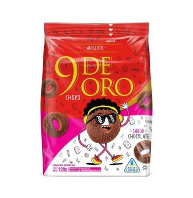 9 DE ORO galletitas anillos chcocolate x120g