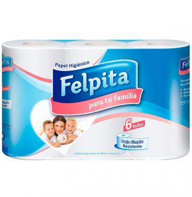 FELPITA papel higienico simple hoja 30m x6u.