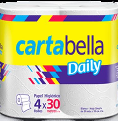 CARTABELLA papel higienico simple hoja 30m x4u.
