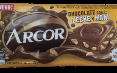 ARCOR chocolate leche con mani x100g